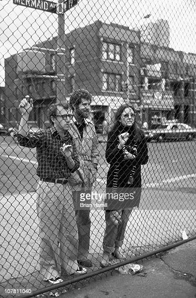 American film director and actor Woody Allen and actors Tony Roberts and Diane Keaton during the filming Allen's movie 'Annie Hall' New York New York...