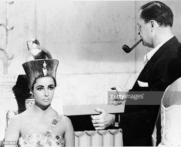 American film director Joseph L Mankiewicz with American actress Elizabeth Taylor on the set of his film 'Cleopatra'