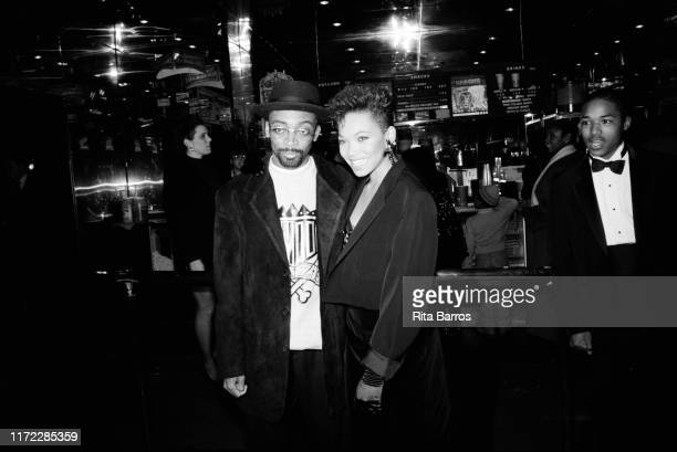 American film director Spike Lee and actress Tisha Campbell pose together at the Criterion cinema during the preview of their film 'School Daze', New...