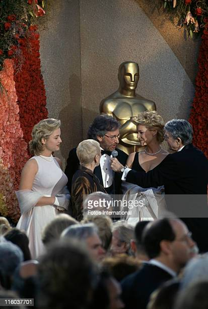 American film director Steven Spielberg with his wife Kate Capshaw and mother Leah Adler at the 66th Academy Awards, held at the Dorothy Chandler...