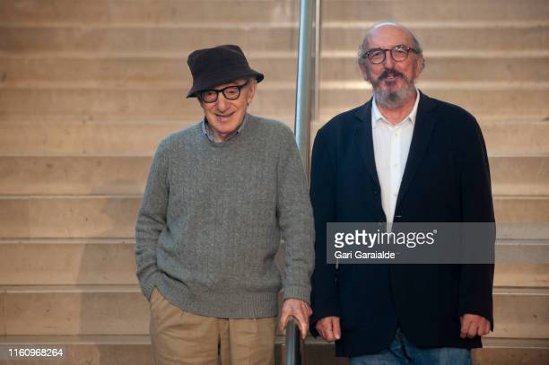 American film director Woody Allen and Spanish film producer Jaume Roures attend a Press Conference at Kursaal auditorium to talk about the new film...