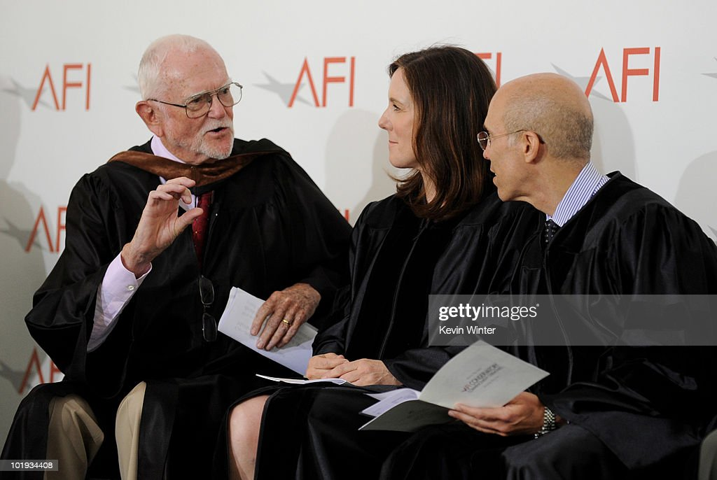 American Film Institute trustee and writer/director Frank Pierson and Honorary Degree recipients producers Kathleen Kennedy and Jeffrey Katzenberg pose at AFI's 2010 Commencement Ceremony at The AFI campus on June 9, 2010 in Los Angeles, California.