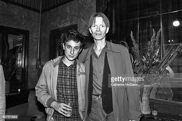 American film maker Harmony Korine poses for a photo with American poet author and musician Jim Carroll at a party for the film 'Trees Lounge' in...