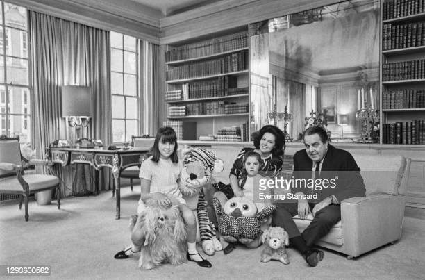 American film producer Albert Broccoli with his wife Dana and daughters Tina and Barbara, 29th May 1967.
