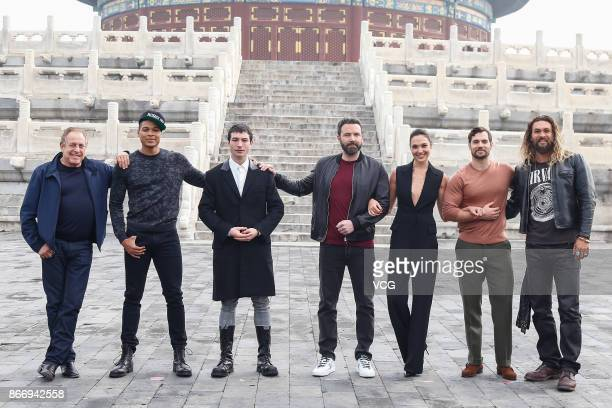 American film producer Charles Roven stage actor Ray Fisher actor and singer Ezra Miller actor and director Ben Affleck Israeli actress and model Gal...