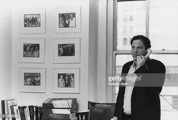 American film producer Harvey Weinstein of Miramax Films at his office in New York City 21st April 1989