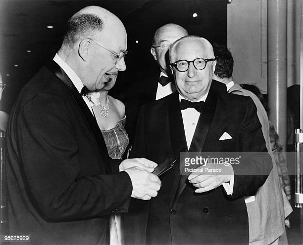 American film producer Louis B Mayer at the Egyptian Theatre Los Angeles for the premiere of 'The High and the Mighty' directed by William A Wellman...