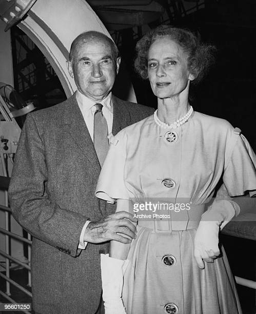 American film producer Samuel Goldwyn and his wife Frances Howard arrive in New York aboard the French liner 'SS Liberte' 1959 They are returning...