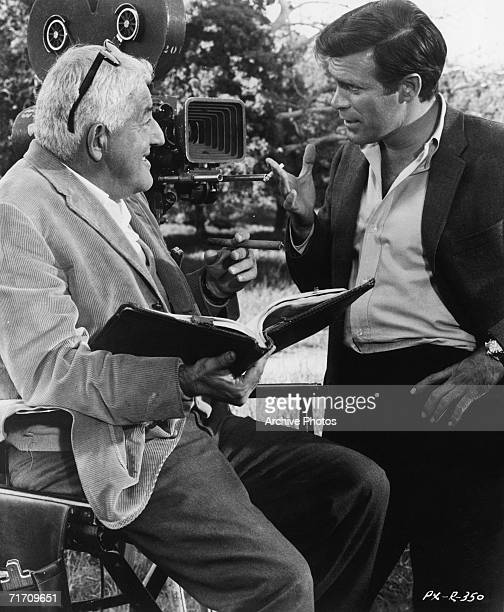 American film producer/director William Castle on the Set of his film 'Project X' with leading man Christopher George 1967