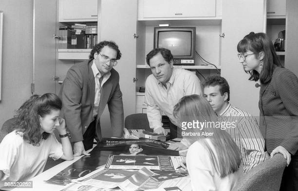 American film producers Harvey Weinstein and his brother Bob Weinstein of Miramax Films at their offices in New York City 21st April 1989 They are...