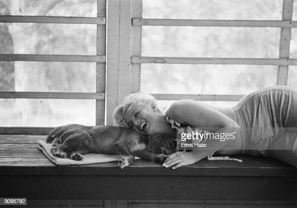 American film star and icon Marilyn Monroe born Norma Jean Mortenson playing with a small dog