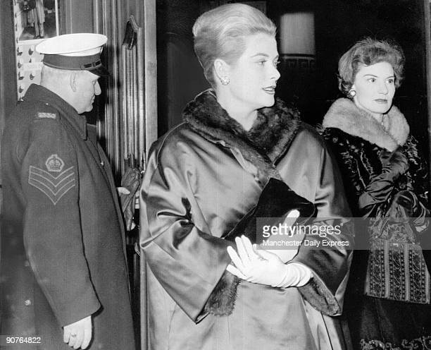 American film star Grace Kelly attending The Pleasure of his Company starring Nigel Patrick an old friend of hers Kelly starred in High Noon Rear...