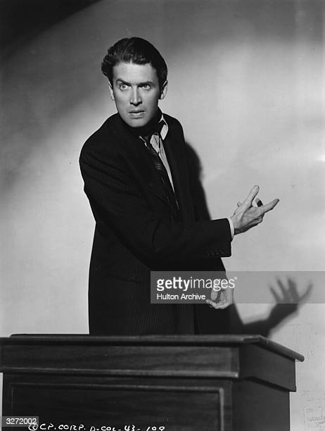 American film star James Stewart presents his case eloquently from the witness box in a scene from the political satire 'Mr Smith Goes to Washington'...