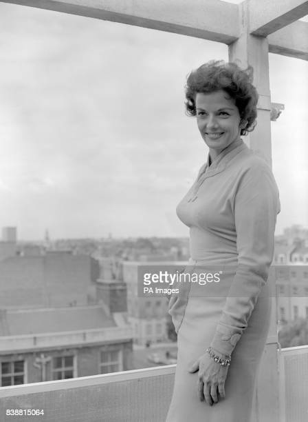 American film star Jane Russell who is due to appear on the popular television show Sunday Night at the London Palladium