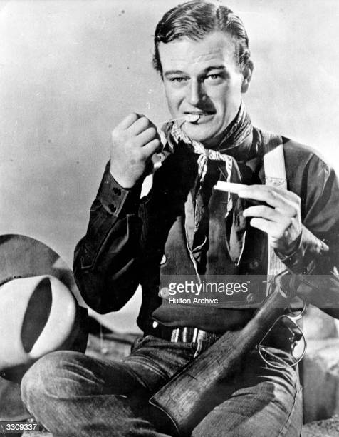 American film star John Wayne originally Marion Michael Morrison who specialised in westerns and starred in over 80 movies This scene is from the...