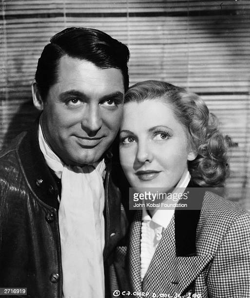 American film stars Jean Arthur and Cary Grant together during the making of 'Only Angels Have Wings'