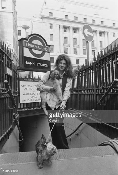 American film television and stage actress Gayle Hunnicutt at the entrance to Bank Station London 2nd August 1969