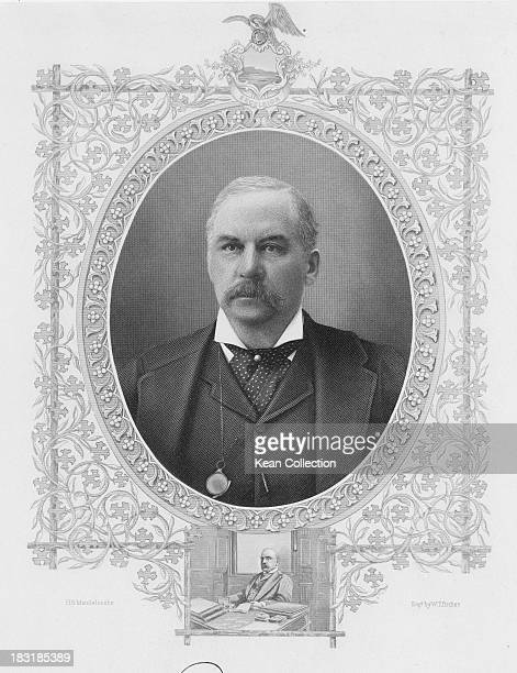 American financier banker and art collector J Pierpont Morgan circa 1890 Engraved by W T Bather after H S Mendelssohn