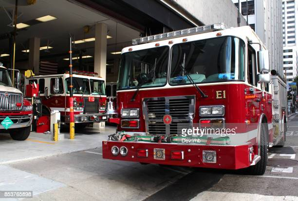 american fire station - fire station stock photos and pictures