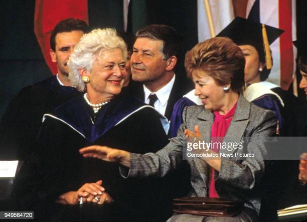 American First Lady Barbara Bush and Wife of the President of the Soviet Union Raisa Gorbachev talk together as they attend graduation ceremonies at...