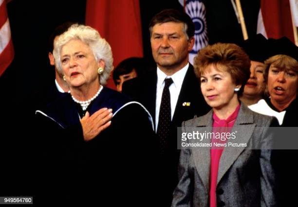American First Lady Barbara Bush and Wife of the President of the Soviet Union Raisa Gorbachev attend graduation ceremonies at Wellesley College...