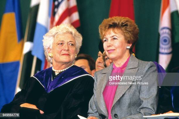 American First Lady Barbara Bush and Wife of the President of the Soviet Union Raisa Gorbachev attend graduation ceremonies at Wellesley College,...