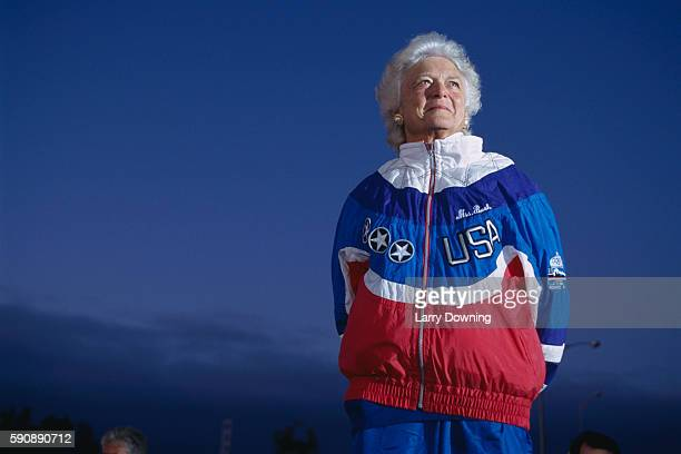 American First Lady Barbara Bush during husband George Bush's Presidential election campaign