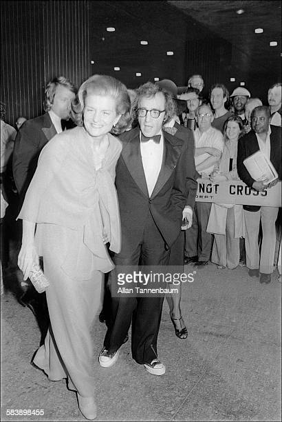 American First Lady Betty Ford escorted by film director Woody Allen attends to the opening of Martha Graham's 'Lucifer' New York New York June 7 1975