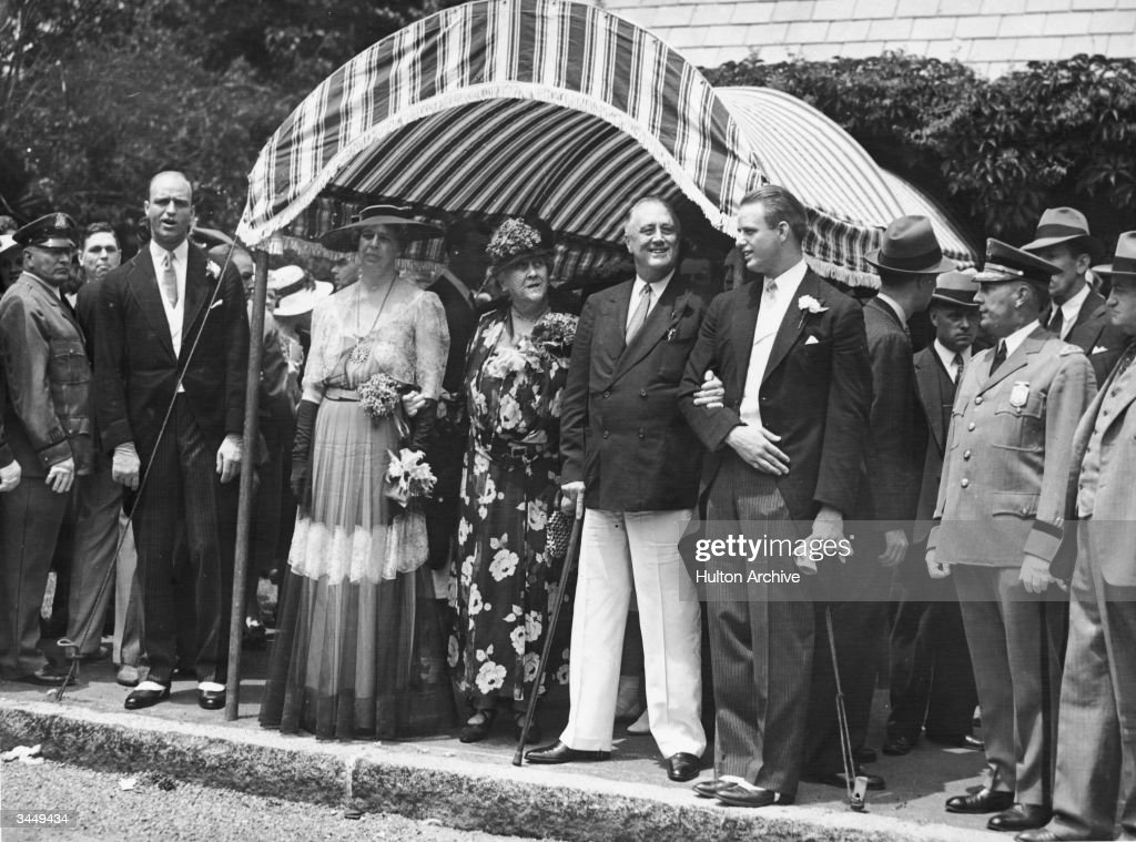 American First Lady Eleanor Roosevelt Stands Under A Canopy In A