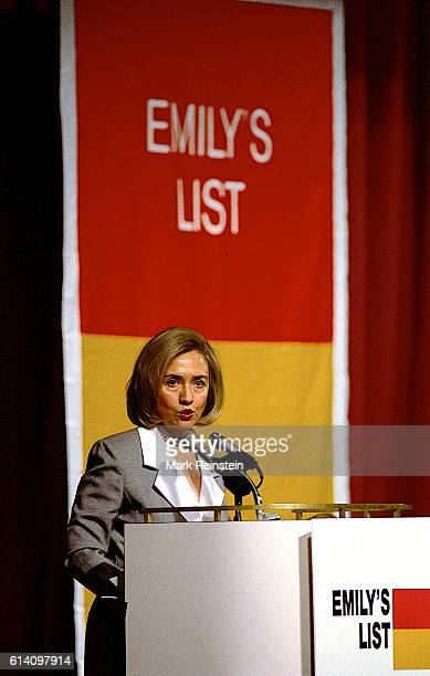 American First Lady Hillary Clinton speaks at the EMILY's List Luncheon Washington DC April 26 1994 The group is a resource for prochoice female...