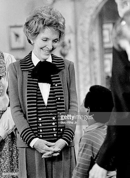 American First Lady Nancy Reagan and actor Gary Coleman appear in a scene on an episode of the television show 'Diff'rent Strokes' as the First Lady...