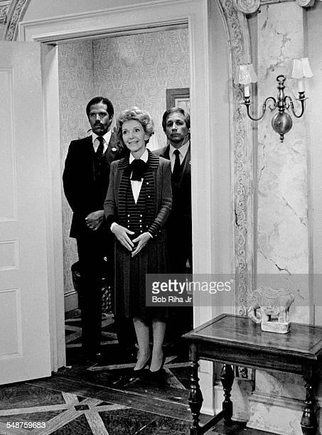 American First Lady Nancy Reagan makes a guest appearance on an episode of the television show 'Diff'rent Strokes' Los Angeles California March 11...