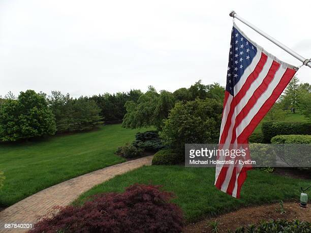 American Flag Against Trees On Grassy Field