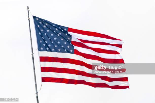 american flag against white background - american flag stock pictures, royalty-free photos & images
