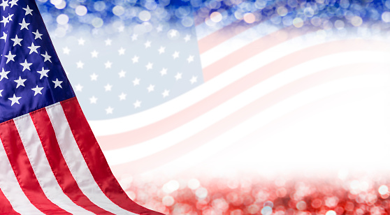 American flag and bokeh background with copy space for 4 july independence day and other celebration 681774248