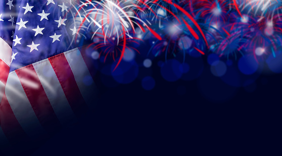American flag and bokeh background with firework and copy space for 4 july independence day and other celebration 681825512