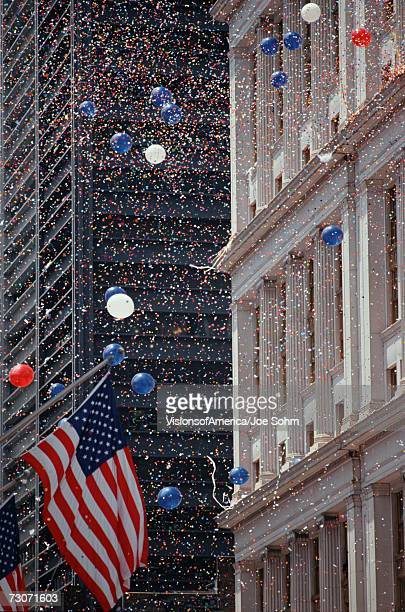 'American flag and confetti at Tickertape Parade, New York'