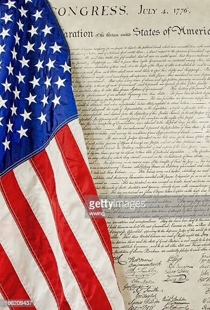 american flag and declaration of independence - declaration of independence stock pictures, royalty-free photos & images