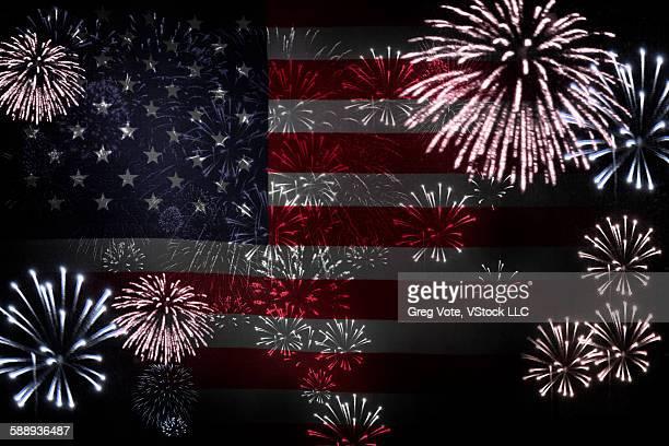 American flag and firework display