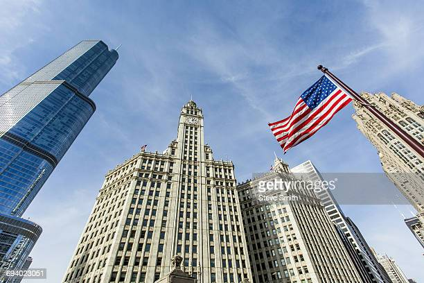 American flag and highrise buildings, Chicago, Illinois, United States