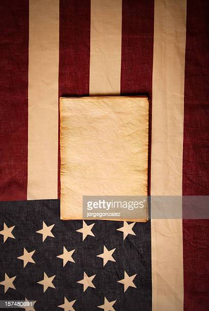 American flag and parchment paper