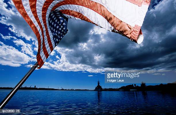 American flag and USS Missouri at Pearl Harbour, United States of America