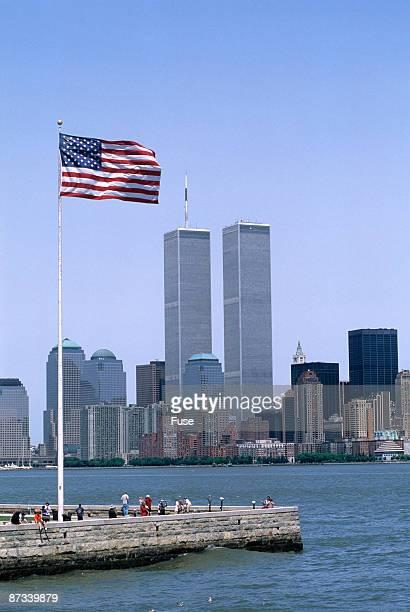 american flag and world trade center - ニューヨーク郡 ストックフォトと画像