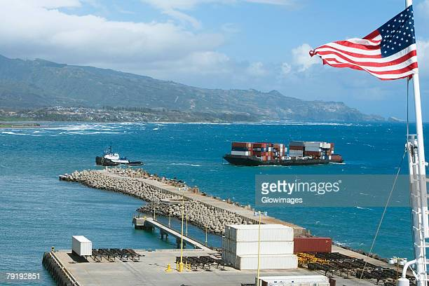 American flag at a commercial dock