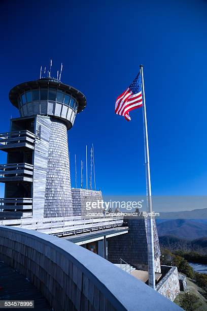 American Flag At Brasstown Bald Against Clear Blue Sky