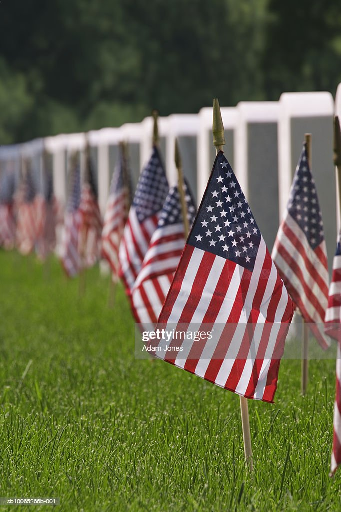 American flag at cemetery : Foto stock