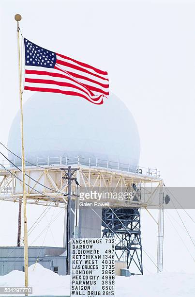 american flag at dew line station - barrow alaska stock pictures, royalty-free photos & images