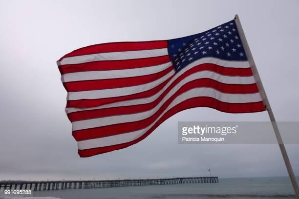 American flag at the Ventura Pier