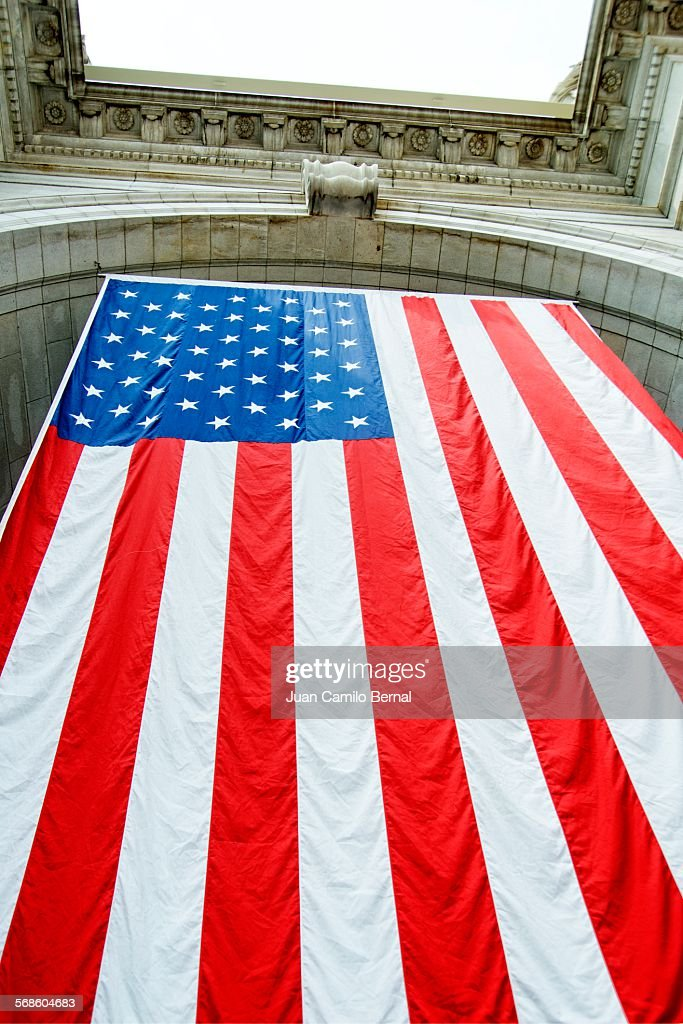 American flag at Union Station in Washington DC : Stock Photo