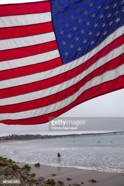 American flag at Ventura Pier